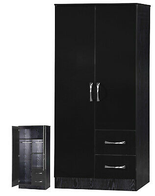 Black Gloss & Ash Effect 2 Door 2 Drawer Double Combi Wardrobe FREE DELIVERY