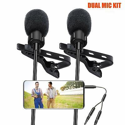 Lavalier Lapel Microphone, Kuyang 2 Pack Omnidirectional Mic for Smartphone DSLR