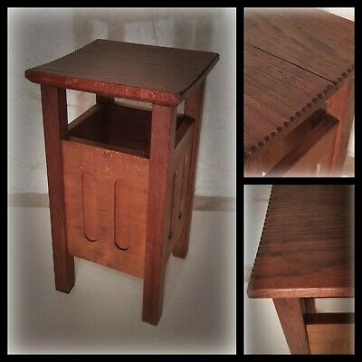 Rustic Antique Carved Top Oak Wooden Prayer Church Stool