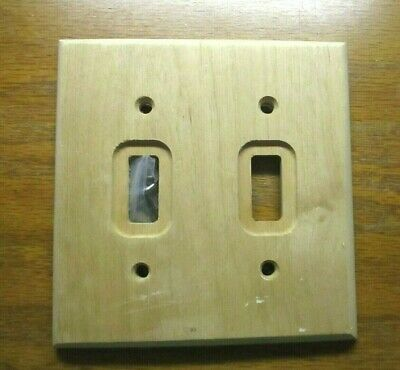 American Tack Hardware C182TT Wood Unfinished 2 Gang Switch Wall Plate 1 Cover