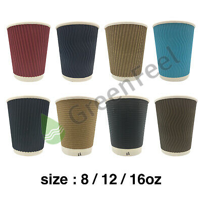 8/12/16oz PAPER CUPS FOR HOT DRINKS DISPOSABLE COFFEE CUPS PAPER CUPS WITH LIDS