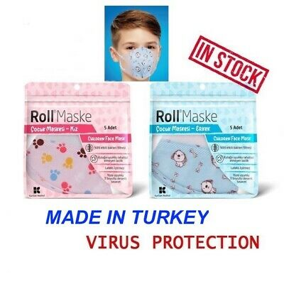5 x DISPOSABLE KIDS SURGICAL FACE MASK 3PLY MEDICAL MASK VIRUS FACE MASK 3 LAYER