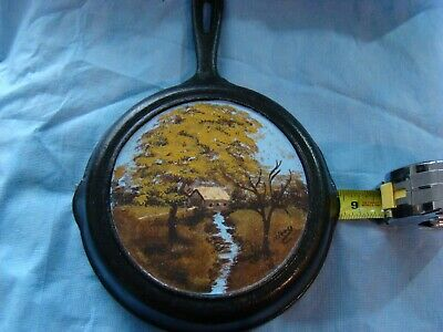 """Cast Iron Skillet Hand Painted Covered Bridge Creek Trees Field Signed 8"""" Dia"""