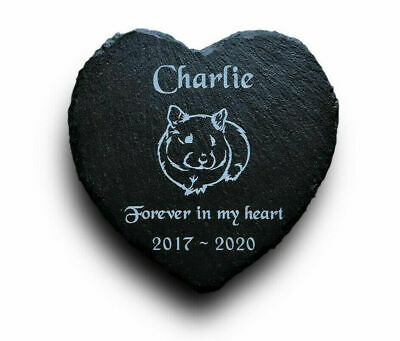 Personalised Engraved Slate Heart Pet Memorial Grave Marker Plaque for a Hamster