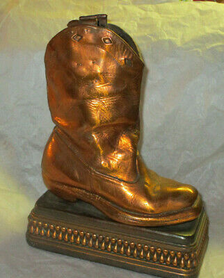 Vintage Perma Plated Bronzed Child's Cowboy Boot Single Bookend