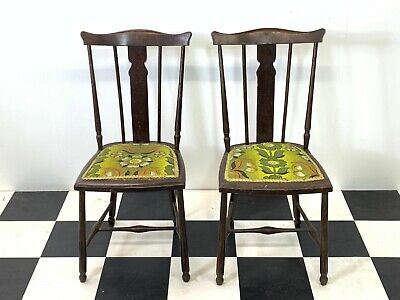 Pair of antique arts & crafts style dining bedroom hall chairs upholstered seats