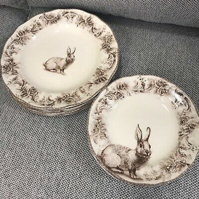 (8) 222 Fifth Arabella Bunny Easter Dinner Salad Plates  ~NEW ~