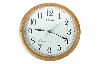 Seiko Radio Wave Controlled Wooden Wall Clock, White Dial, Automatic Time Update