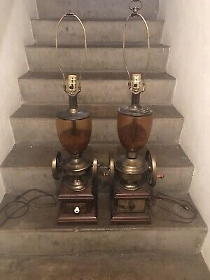 Ethan Allen Vintage Dark Antiqued Pine Old Tavern Coffee Grinder Lamp (2)