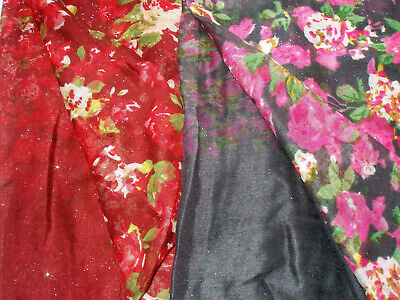 Red Wine Grey Blue Pink Multi Glitter Floral Lightweight Ladies Scarf Pashmina