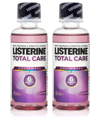 2x Listerine TOTAL CARE Mouthwash MINI Travel Size 95ml