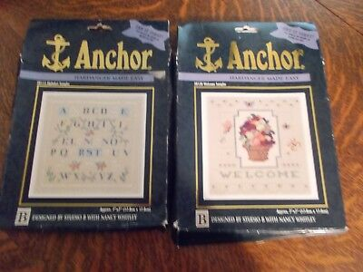 2 Anchor Hardanger Embroidery Kits Coats & Clark Alphabet Welcome Sampler New