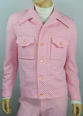 Vtg 70s PINK Houndstooth DiScO 2 Pc LEISURE Suit BeLL BoTToM Pants Jacket 46 34
