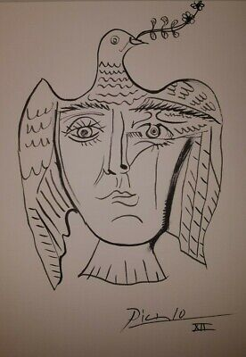Pablo Picasso - ink drawing -signed dove drawing- ink drawing original art