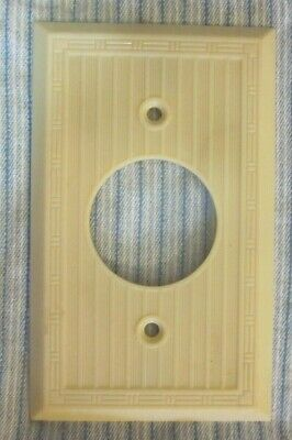 Mono Outlet Plate Wall Cover Dashed Art Deco Ribbed Beige Bakelite Antique