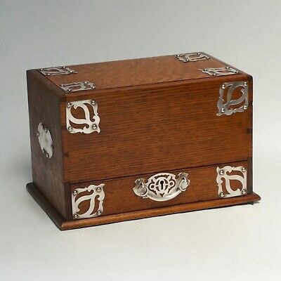 Rare Antique 19th Century Oak Mechanical Stationery / Writing Box