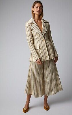 Rosie Assoulin Gold Lurex Striped Ivory Cotton Culottes, US 8  IT44 SS2019