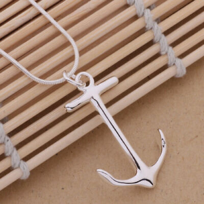 925 cute Silver Plated Fashion Charms Anchor pendant Necklace Jewelry women  HOT
