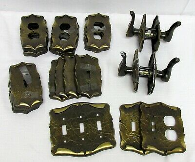 Vintage Lot Amerock Carriage House Brass Outlet Switch Plate Door Handle Levers