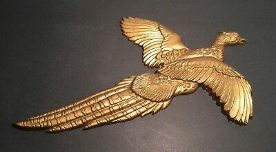 Vintage Mid Mod Large Flying Pheasant Bird Cast Gold Art Wall Hanging! Rare!