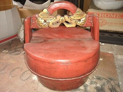 Antique Vintage Chinese Wooden Wedding/Food/Rice/Tea Bucket Bin Caddy