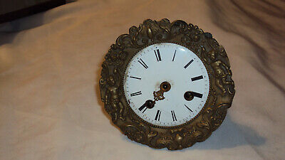 Antique French Crystal regulator mantle clock movement dial cherub bezel repair