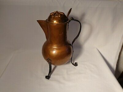 Rare Wonderful French Coppersmith Hammered Copper 48 Oz 3 Legged Coffee Pot