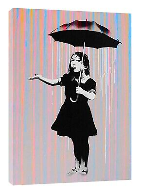 Banksy NOLA Umbrella Girl Picture Print On Framed Canvas Wall Art Decoration