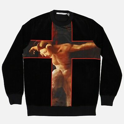 Givenchy Black Velvet Faun Cross Sweatshirt | Size XS Relaxed fit FW15 RRP $1385