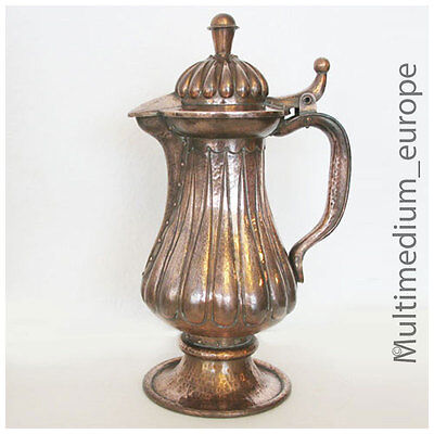 Art Nouveau Copper Jug Handmade with Rivets Rarely Operated Beaten