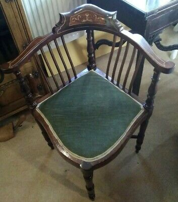 Antique edwardian corner chair, mahogany with lovely stringing, green covering