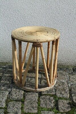 Vintage Mid Century Round Boho Bamboo Coffee Occasional Table 39cm D 43cm T