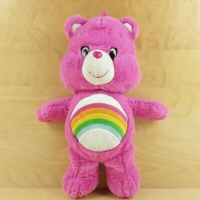 "Official Care Bears Cheer Bear Pink Rainbow 14"" Soft Toy Plush Teddy 2015"