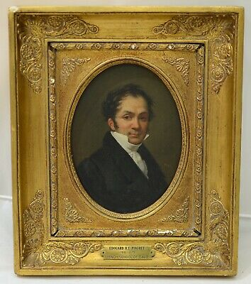 Fine Antique 19th Century Self Portrait Oil Painting PINGRET