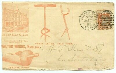 All over front and back advertising Walter Woods 1885 Small Queen Canada cover