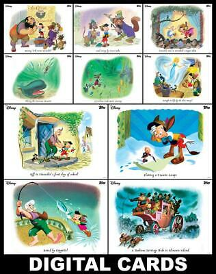 Topps Disney Collect PINOCCHIO 80th Anniversary 10 CARD VINTAGE ILLUSTRATED SET