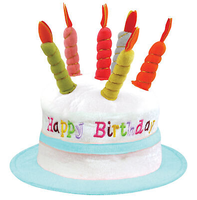 Adult Happy Birthday Hat Cake Hat with Mock Candles Hat Blue//White New