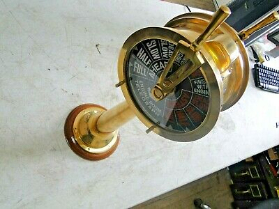 Engine Room Telegraph 18 Inch Brass With Wood Base 7 Inch Face