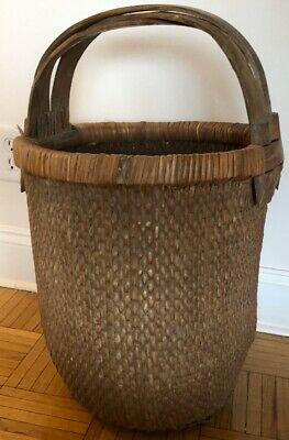 vintage signed woven Chinese rice basket triple bentwood handles early 20th cent