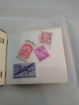 Lot of 90+ Vintage Postage Stamps in collector book. MUST SEE!