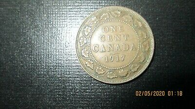 1917 Canada One 1 Cent George V Large Penny Coin