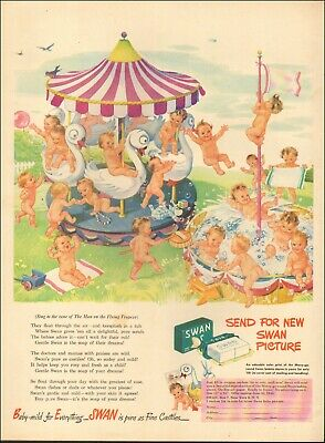 1945 Vintage ad for Swan floating soap`Merry Go Round Art Babies   021220
