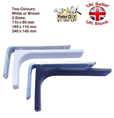 2 x Strong Shelf Supports Metal Bracket With Plastic Cover WHITE orBROWN 3 Sizes