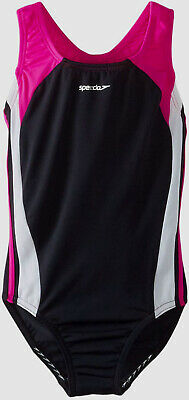 $99 Speedo Swim Kids Girls Black Pink Color-Blocked Splice One Piece Swimsuit 10
