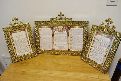 Great Used Set of Brass Latin Mass Cards Altar Cards (CU#866) Church