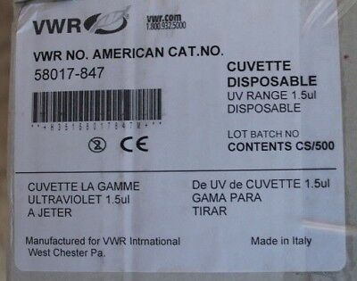 New Case of 500 VWR Disposable Cuvette 1.5 ul, 58017-847, U.S. Government Issue