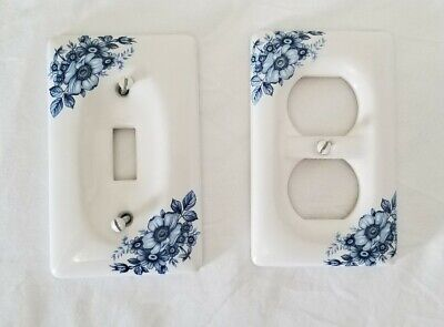 White w_Blue Flower Porcelain Cover Wall Plate 1 Light & 1 Outlet Switch Plate