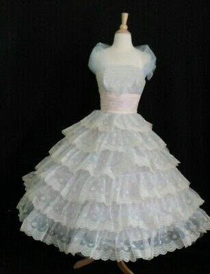 50's Vintage CUPCAKE Shelf Bust Strapless PROM PARTY Wedding Dress FLOCKED Tiers