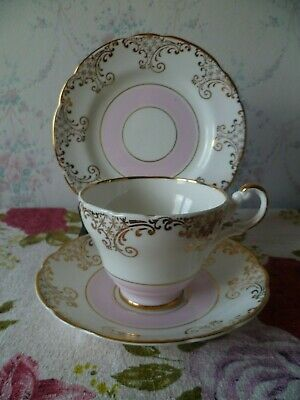 Lovely Vintage Regency English China Trio Tea Cup Saucer Plate Pink Gilded