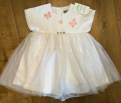 Vertbaudet Girls White Fully Lined Party Dress Brand New With Tags Age 3